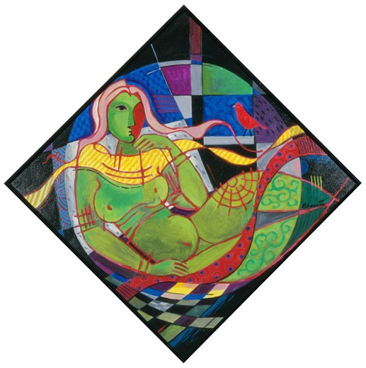 Rhythmic Repose IV Bharati Chaudhuri (b.1951 Indian) Acrylic on canvas : Stock Photo