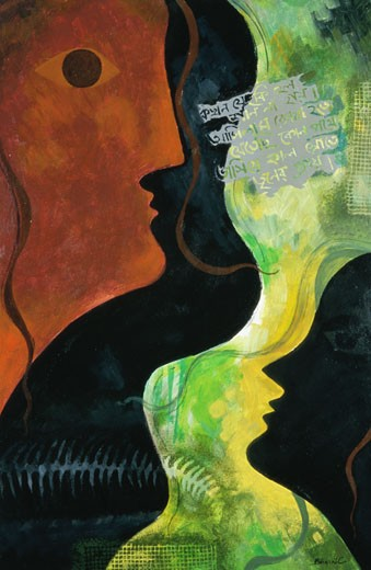 Stock Photo: 1048-14048 Contemplation II Bharati Chaudhuri (b.1951 Indian) Acrylic on board