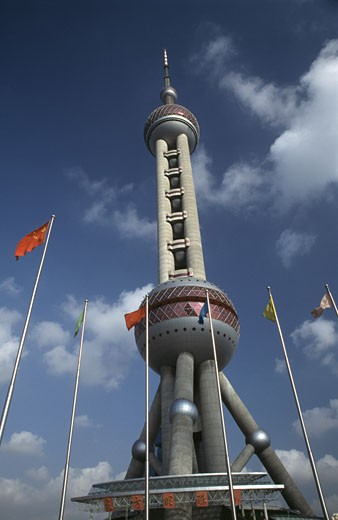 Low angle view of a TV tower, Oriental Pearl Tower, Shanghai, China : Stock Photo
