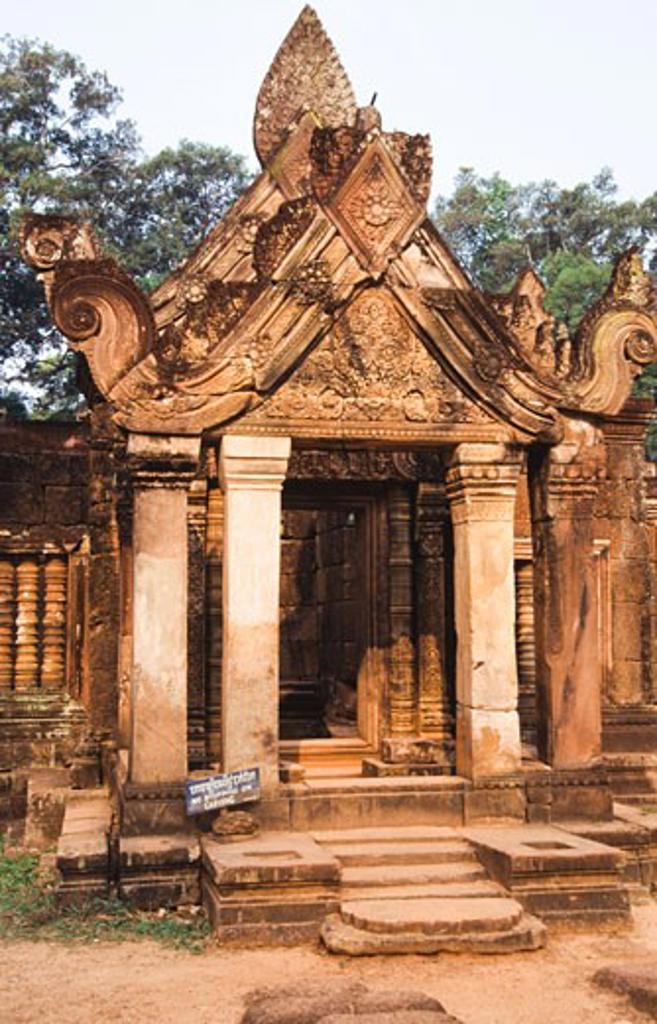 Ruins of a temple, Banteay Srei, Angkor, Cambodia : Stock Photo