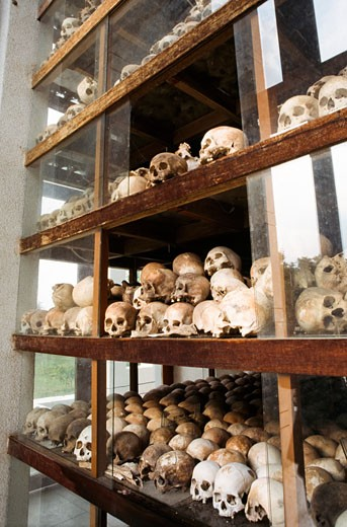 Human skulls on a rack, Choeung Ek, Phnom Penh, Cambodia : Stock Photo