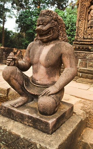 Statue in a temple, Banteay Srei, Angkor, Cambodia : Stock Photo