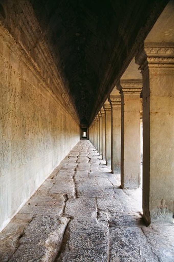 Corridor in a temple, Angkor Wat, Angkor, Cambodia : Stock Photo