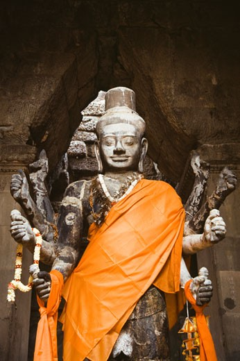 Hindu God Lord Vishnu's the statue in a temple, Angkor Wat, Angkor, Cambodia : Stock Photo