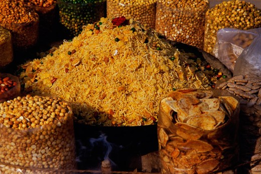 Assorted savories at a market place, Delhi, India : Stock Photo