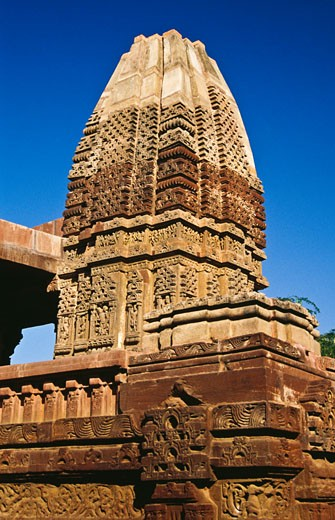 Architectural details of a temple, Osian Temple, Osian, Jodhpur, Rajasthan, India : Stock Photo