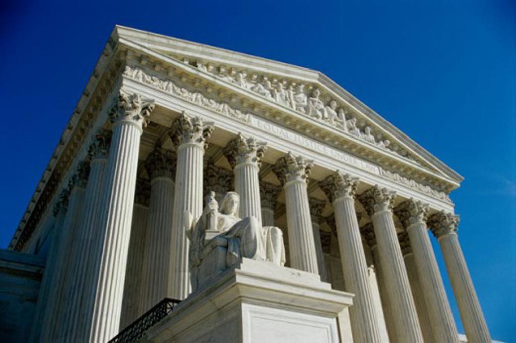 Low angle view of the U.S. Supreme Court, Washington D.C., USA : Stock Photo
