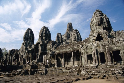 Stock Photo: 105-3145 Facade of a Buddhist temple, Angkor Thom, Cambodia