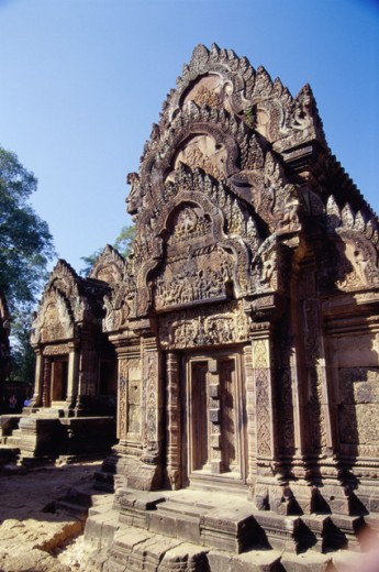 Low angle view of a temple, Banteay Srei, Cambodia : Stock Photo