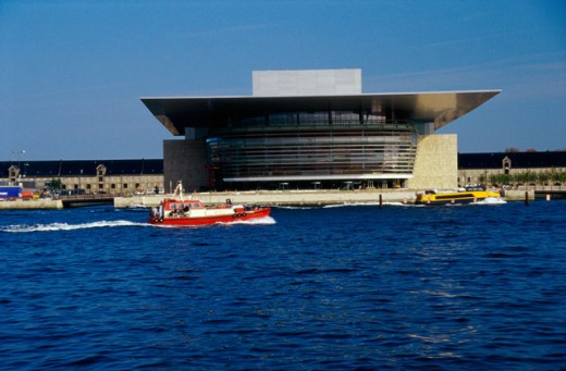 Opera house on the waterfront, Copenhagen Opera House, Copenhagen, Denmark : Stock Photo