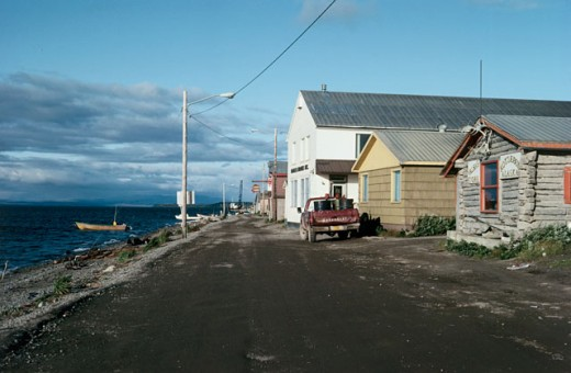Houses in a row, Kotzebue, Alaska, USA : Stock Photo
