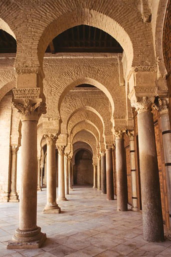 Stock Photo: 105-922 Interiors of a mosque, Great Mosque, Kairouan, Tunis, Tunisia