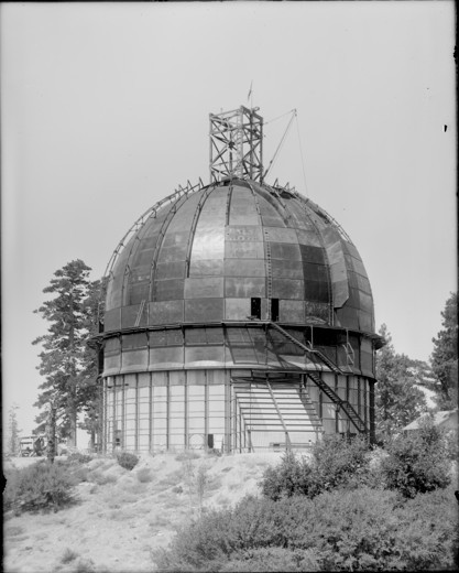 Stock Photo: 1060-1140 100-INCH TELESCOPE DOME UNDER CONSTRUCTION; PART OF 'FIN' AND MOST OF DOME SHEATHING ON.