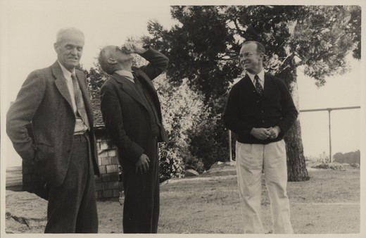 Stock Photo: 1060-1260 (L TO R): WALTER ADAMS, ALFRED JOY, & JOSEPH HICKOX ON MT. WILSON.
