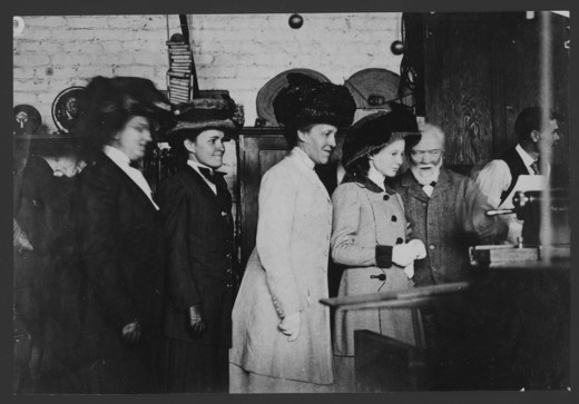 Stock Photo: 1060-1310 (L TO R): MRS. CARNEGIE, MARGARET CARNEGIE, EVELINA HALE, MARGARET HALE, AND ANDREW CARNEGIE IN THE MACHINE SHOP AT SANTA BARBARA STREET.