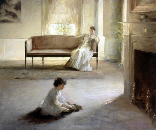 Stock Photo: 1060-185 Interior with Mother and Child by Edmund Charles Tarbell, oil on canvas, 1862-1938, USA, California, San Marino, The Huntington Library