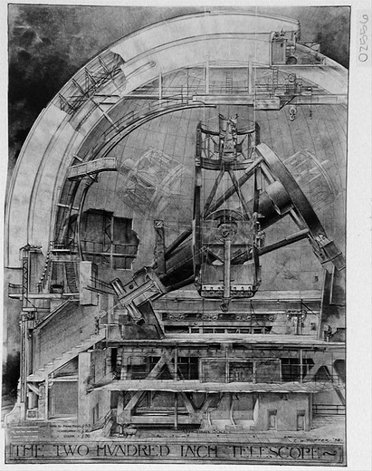 CUTAWAY DRAWINGS BY RUSSELL W. PORTER: SECTION THROUGH THE DOME SHOWING THE 200-INCH TELESCOPE. : Stock Photo