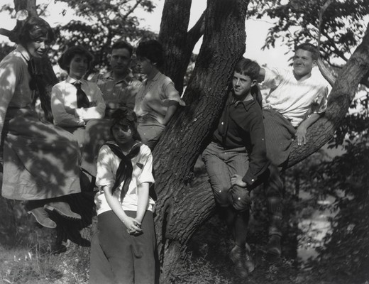 Edwin Powell Hubble (third from left) and unidentified companions (three women, one girl, and two adolescent boys) sitting in tree : Stock Photo