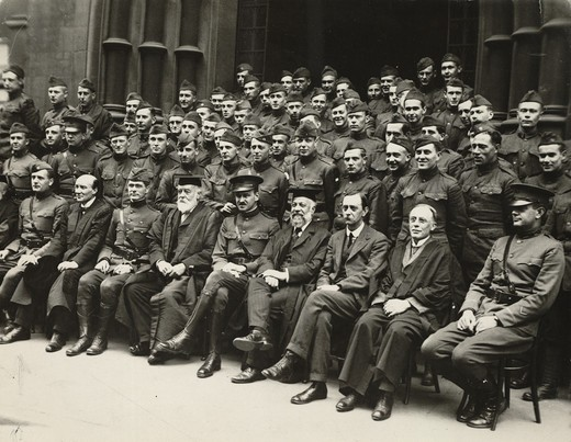 Stock Photo: 1060-2059 Major Edwin Hubble with other uniformed men and Birmingham University officials (World War I); front row, left to right: Hubble, Sir Charles Raymond Beazley, Colonel FF Longley, Sir Oliver Lodge, Captain Ralph R Faison, Sir William Ashley, Pawley (American Consul), Sir Charles Grant Robinson, and unidentified officer