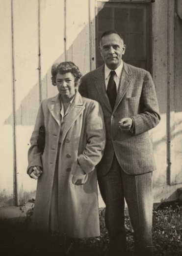 Stock Photo: 1060-2062 Grace (Burke) Hubble and Edwin Powell Hubble  in front of house on Woodstock Road