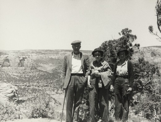 Stock Photo: 1060-2110 USA, Arizona, Grace (Burke) Hubble, Edwin Powell Hubble, and Betty Baldwin on desert trail to Betatakin