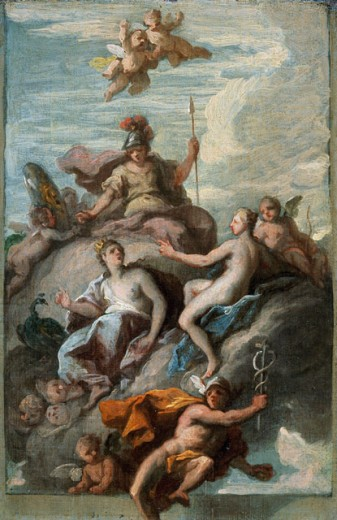 Juno, Minerva, and Venus Dispatching Mercury With The Apple of Discord James Thornhill (1675-1734 British) The Huntington Library, Art Collections, and Botanical Gardens, San Marino, California  : Stock Photo