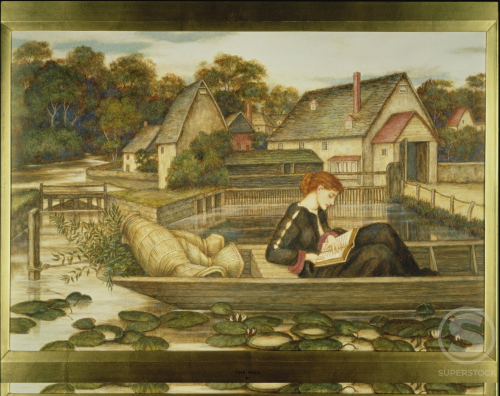 Stock Photo: 1060-396 The Mill Pond 1905, Watercolor and Gouache on Paper John Roddam Spencer Stanhope 1829-1908 British The Huntington Library, Art Collections, and Botanical Gardens, San Marino, California