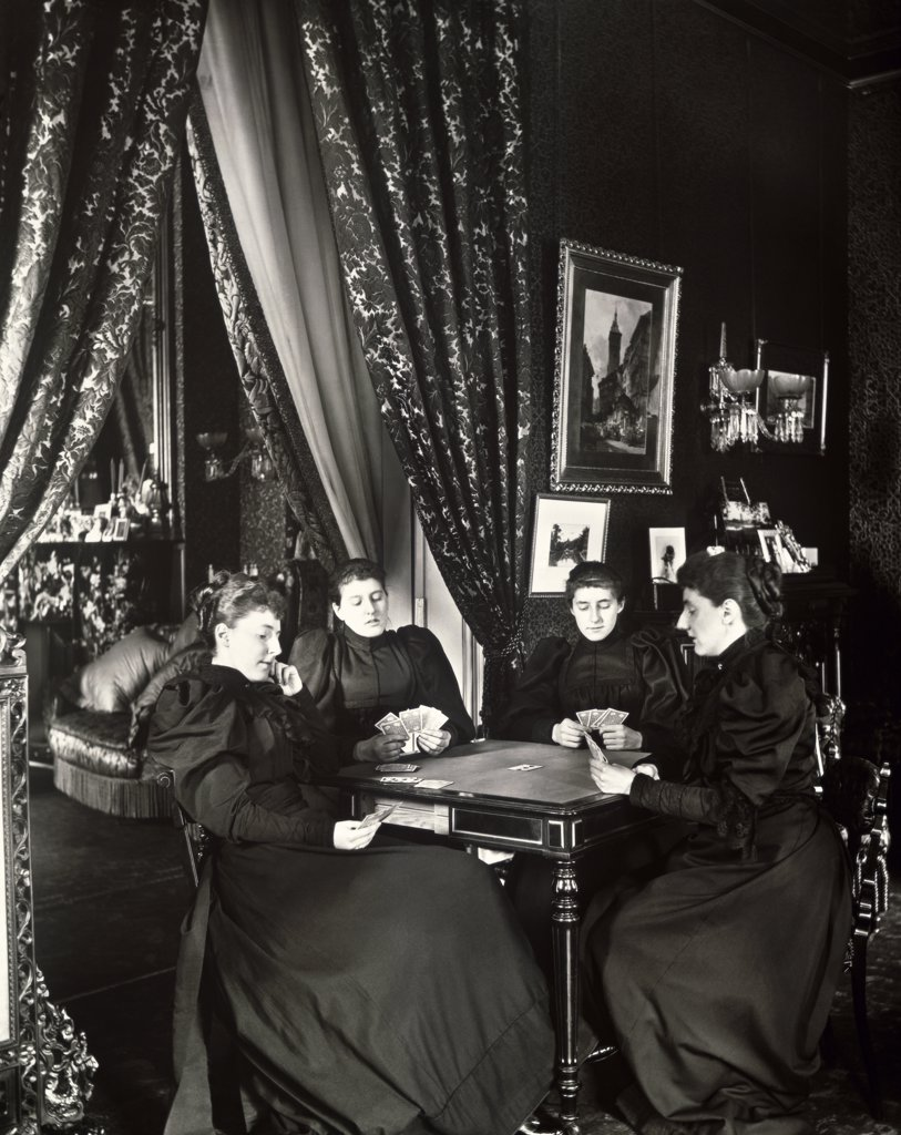 Stock Photo: 1060-447 Pauncefote sisters playing cards at the British Embassy, Washington DC, USA, Circa 1898