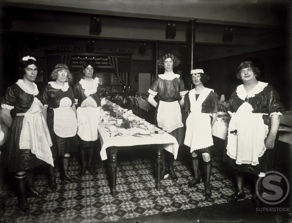 Stock Photo: 1060-449 Group of young men dressed as maids