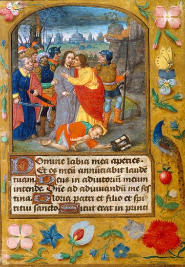 Betrayal in the Garden, Book of Hours, Manuscripts : Stock Photo