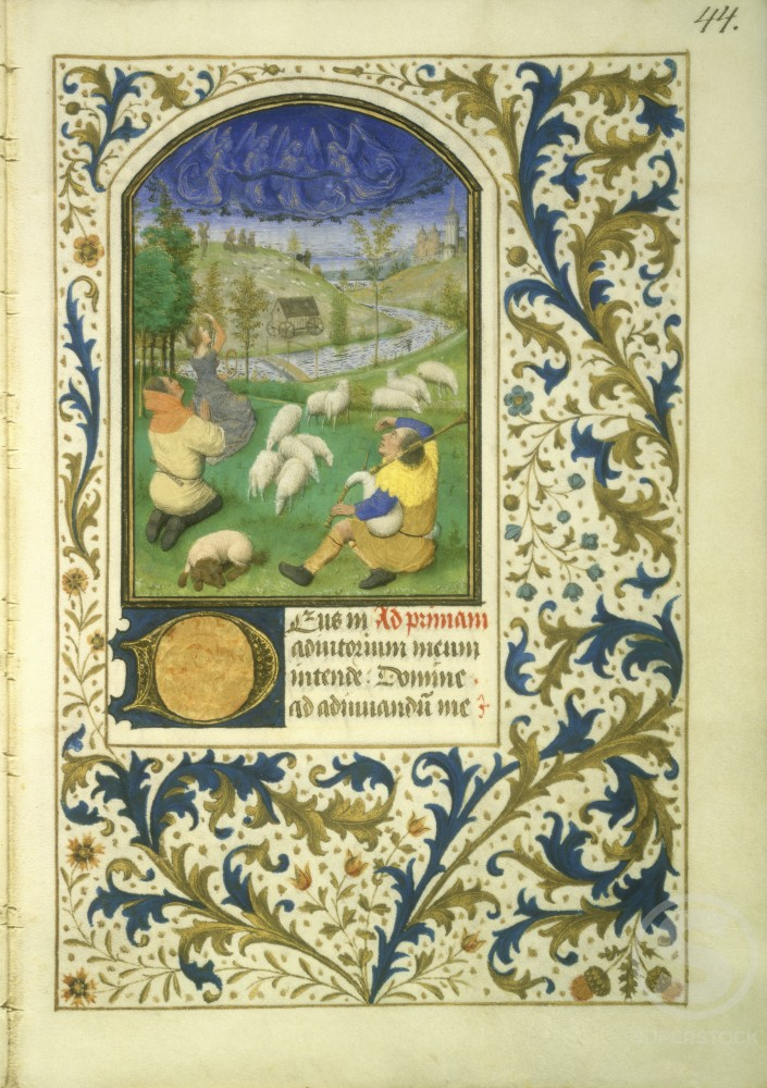 Stock Photo: 1060-454 Book of Hours: Annunciation to the Shepherds