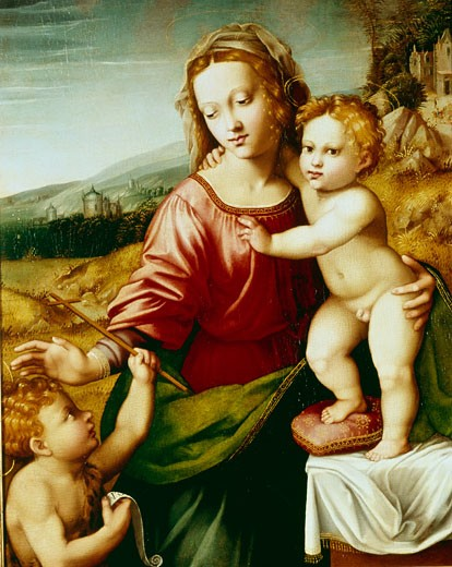 Stock Photo: 1060-469 Madonna and Child With St. John, Early 16th Century, Master- Scandicci Lamentation, 16th Century Italian, The Huntington, San Marino, California