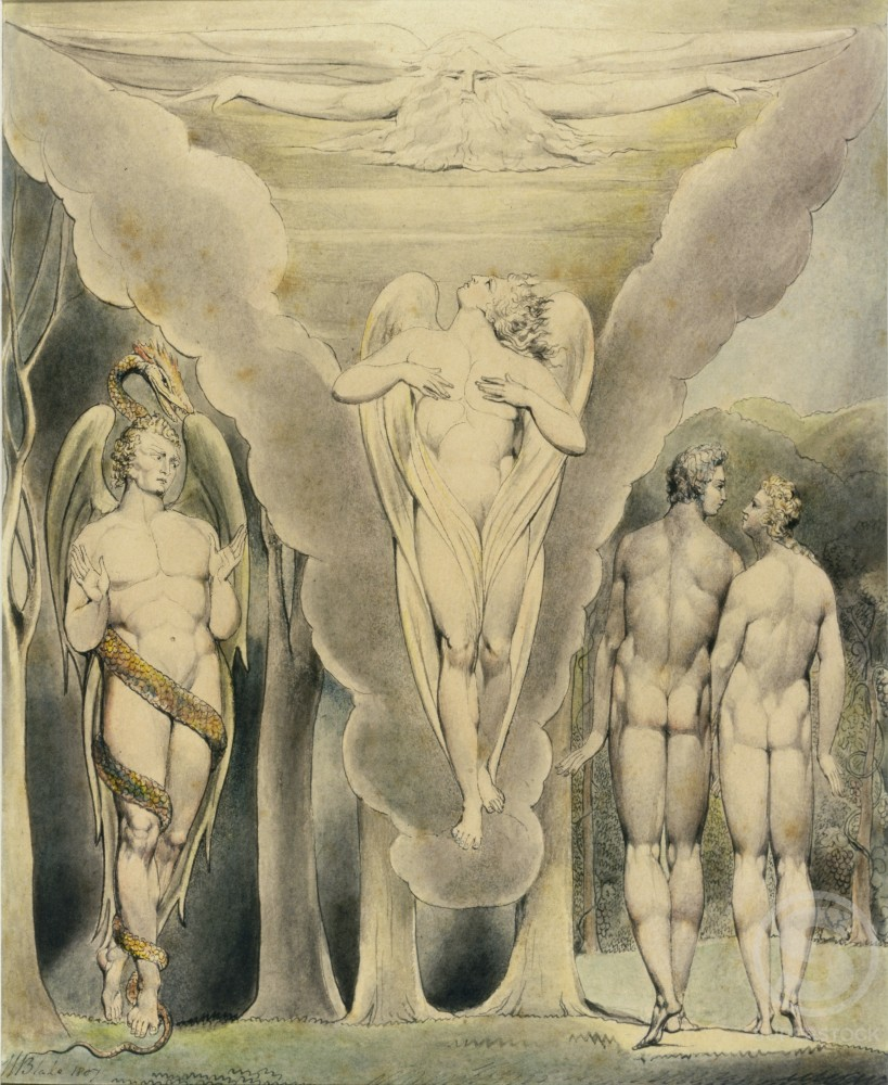 Stock Photo: 1060-496 Satan Spying on Adam and Eve and Raphael's Descent into Paradise
