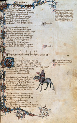 Stock Photo: 1060-564 Canterbury Tales: The Clerk of Oxford's Tale Ellesmere Chaucer by unknown artist, Illuminated manuscript, circa 1400, USA, California, San Marino, The Huntington, The Huntington Library, Art Collections and Botanical Gardens