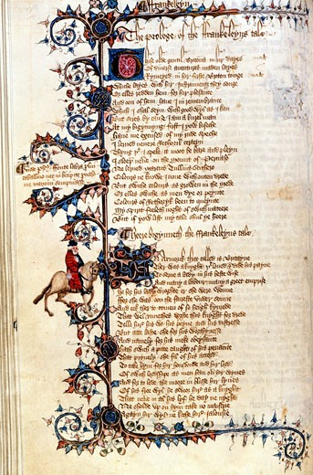Canterbury Tales: Prologue to the Franklin's Tale Ellesmere Chaucer by unknown artist, Illuminated manuscript, circa 1400, USA, California, San Marino, The Huntington, The Huntington Library, Art Collections and Botanical Gardens : Stock Photo