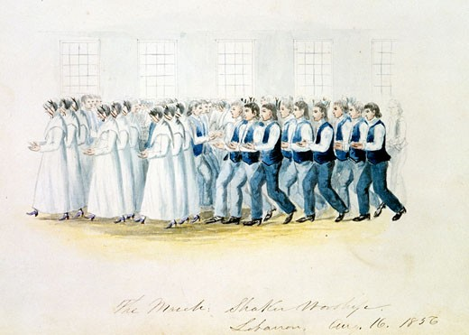 The March - Shaker Worship, Lebanon, August 16, 1856 by Benson John Lossing,, USA, California, San Marino, The Huntington, The Huntington Library, Art Collections and Botanical Gardens : Stock Photo