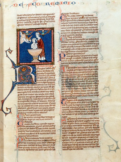 Stock Photo: 1060-607 Remigius Baptizing the King, Golden Legend of Jacobus De Voragine, Manuscripts, USA, California, San Marino, The Huntington, The Huntington Library, Art Collections and Botanical Gardens