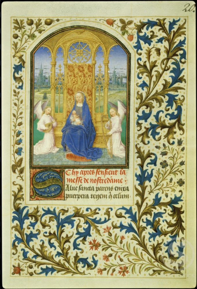 Stock Photo: 1060-611 Virgin Enthroned between Angels: Book of Hours 