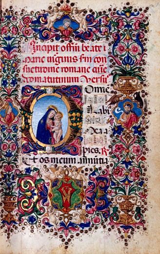 Stock Photo: 1060-614 Book of Hours Italian, Virgin and Child, Manuscripts, USA, California, San Marino, The Huntington, The Huntington Library, Art Collections and Botanical Gardens