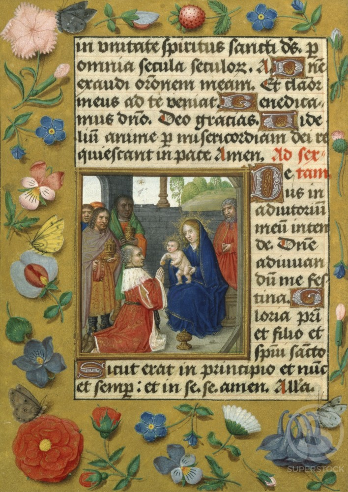 Stock Photo: 1060-617 Adoration of the Magi  (Detail) Book of Hours  (Flemish) 15th-16th Centuries, Manuscript Illumination Artist Unknown The Huntington Library, Art Collections, and Botanical Gardens, San Marino, California