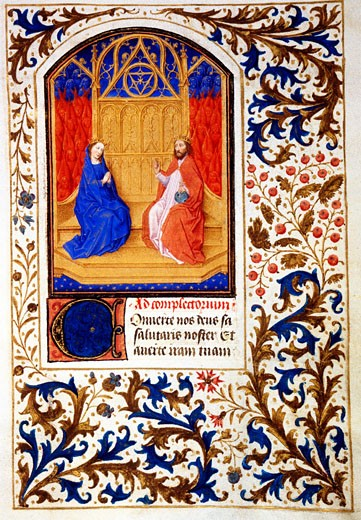 Stock Photo: 1060-624 The Coronation of the Virgin, Book of Hours, Simon Marmion (C. 1425-1489 French), The Huntington Library, Art Collections