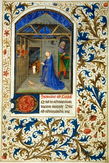 Book of Hours,The Nativity by Simon Marmion, 1425-1489, USA, California, San Marino, The Huntington, The Huntington Library, Art Collections and Botanical Gardens : Stock Photo