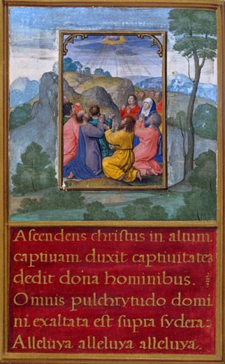 Ascension of Christ, The Spanish Book of Hours, C. 1500-1550, Simon Bening, (C. 1483-1561/Netherlandish), The Huntington Library, Art Collections : Stock Photo
