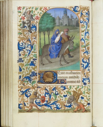 Stock Photo: 1060-646 Flight into Egypt Book of Hours (French) 1450-1500 Workshop of Jean Fouquet The Huntington-San Marino, California