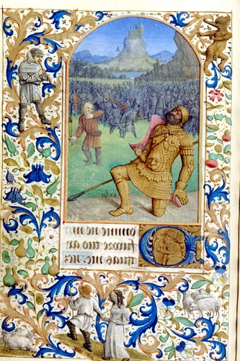 Stock Photo: 1060-651 David and Goliath, Book of Hours (French), C. 1450-1500, Workshop of Jean Fouquet, The Huntington Library, Art Collections