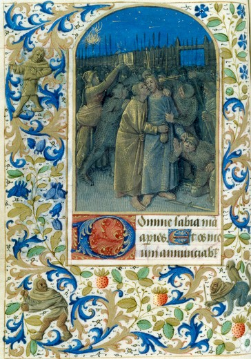 Stock Photo: 1060-652 Betrayal in the Garden, Book of Hours (French), Workshop of Jean Fouquet, The Huntington Library, Art Collections