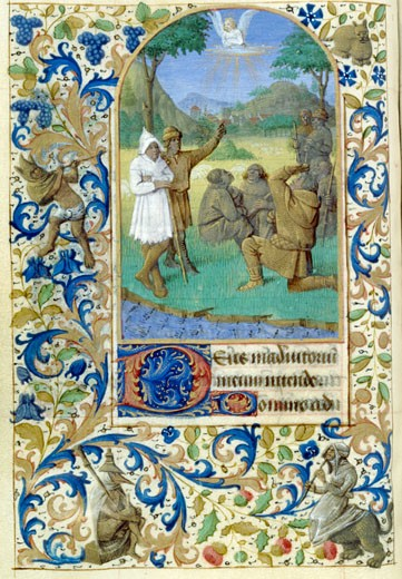 Stock Photo: 1060-653 The Annunciation To The Shepherds, Book Of Hours (French) Workshop Of Jean Fouquet