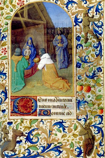Adoration of the Magi, Book of Hours (French), Workshop of Jean Fouquet, The Huntington Library, Art Collections : Stock Photo