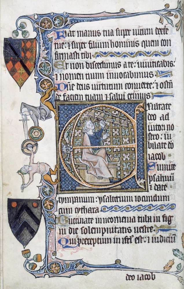 Psalter: David Playing Bells, C. 1300-1350, Manuscripts, The Huntington Library, Art Collections, and Botanical Gardens, San Marino, California : Stock Photo