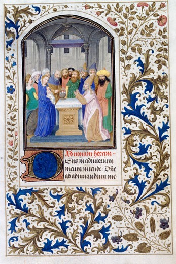 Presentation in the Temple, The Book of Hours, C. 1450-75, Simon Marmion, (C. 1425-1489/French), Decor, Wellum Leaf, The Huntington Library, Art Collections : Stock Photo